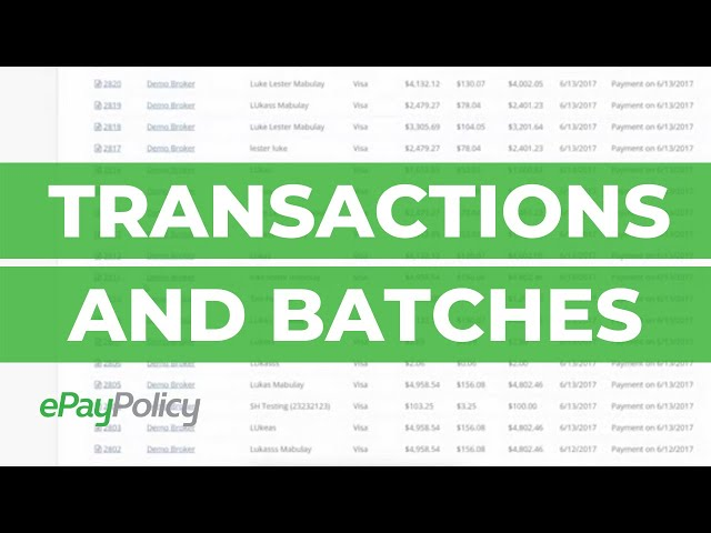 TRANSACTIONS AND BATCHES