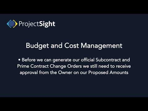 ProjectSight Training - Budget and Cost Management Overview