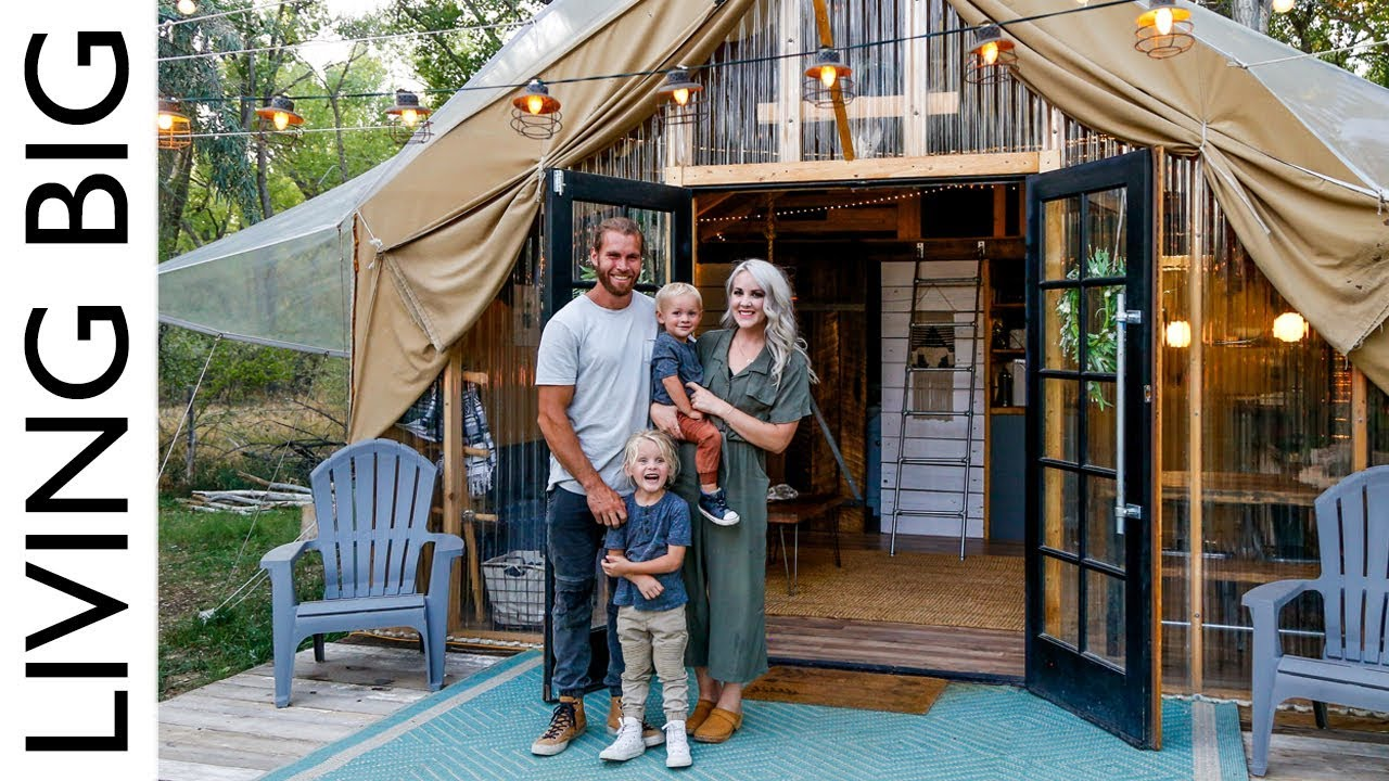 Back To Nature Living In A Beautiful Tiny House Tent Youtube