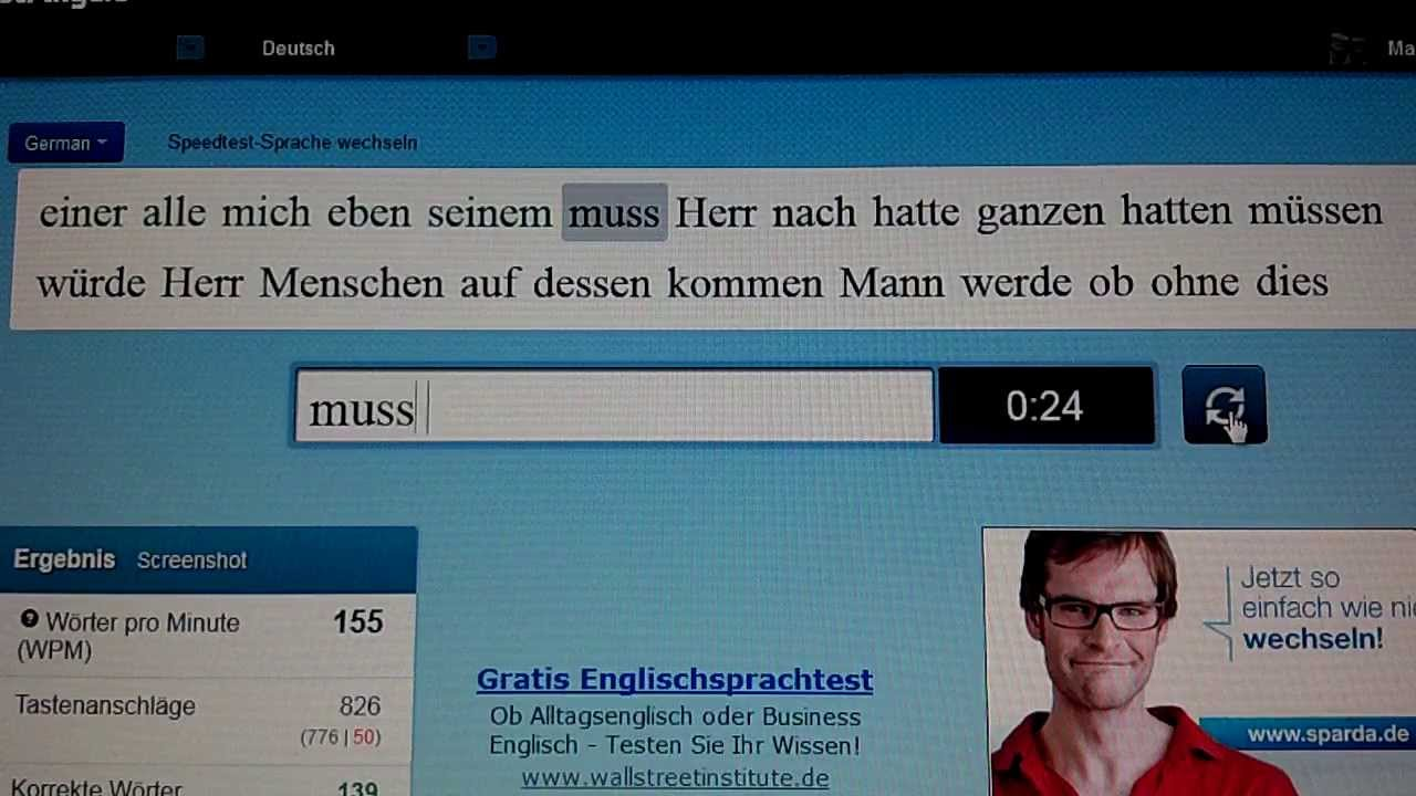 10 Fast Fingers typing test - German 162 WPM - YouTube