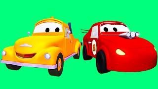 tom the tow truck and the racing cars in car city   trucks cartoons for kids