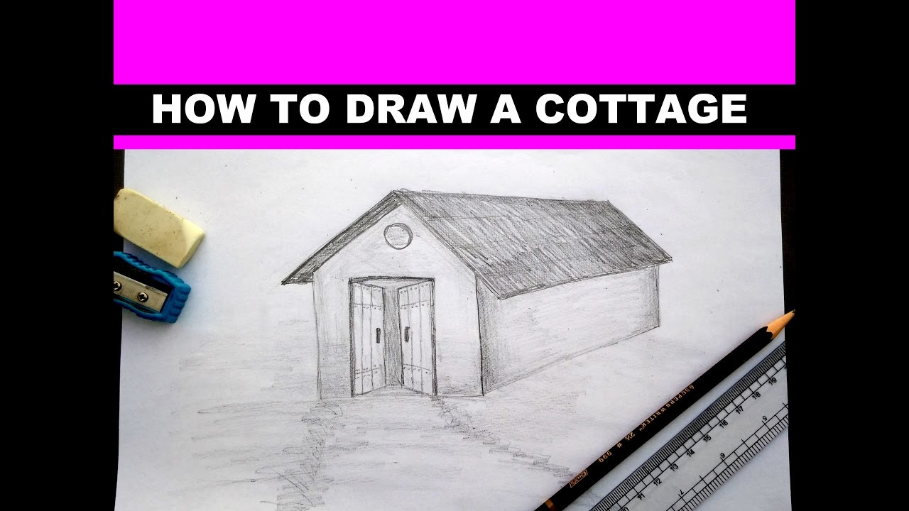 Drawing A Cottage Step By Easy Sketch Lesson