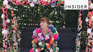 Colorful Coats Made of Tinsel and Pom-Poms