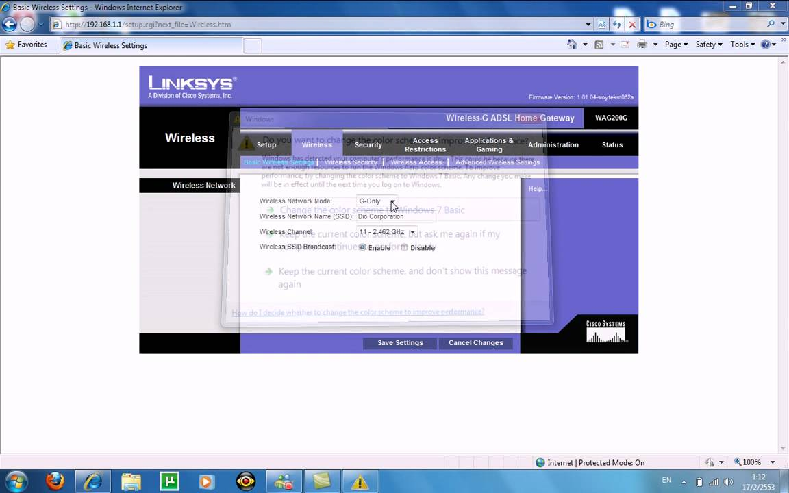 Linksys Router Ip >> How to configure Linksys WAG200G router for True internet ...