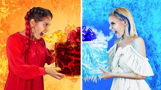 Hot vs Cold Challenge / Girl on Fire vs Icy Girl Birthday Party