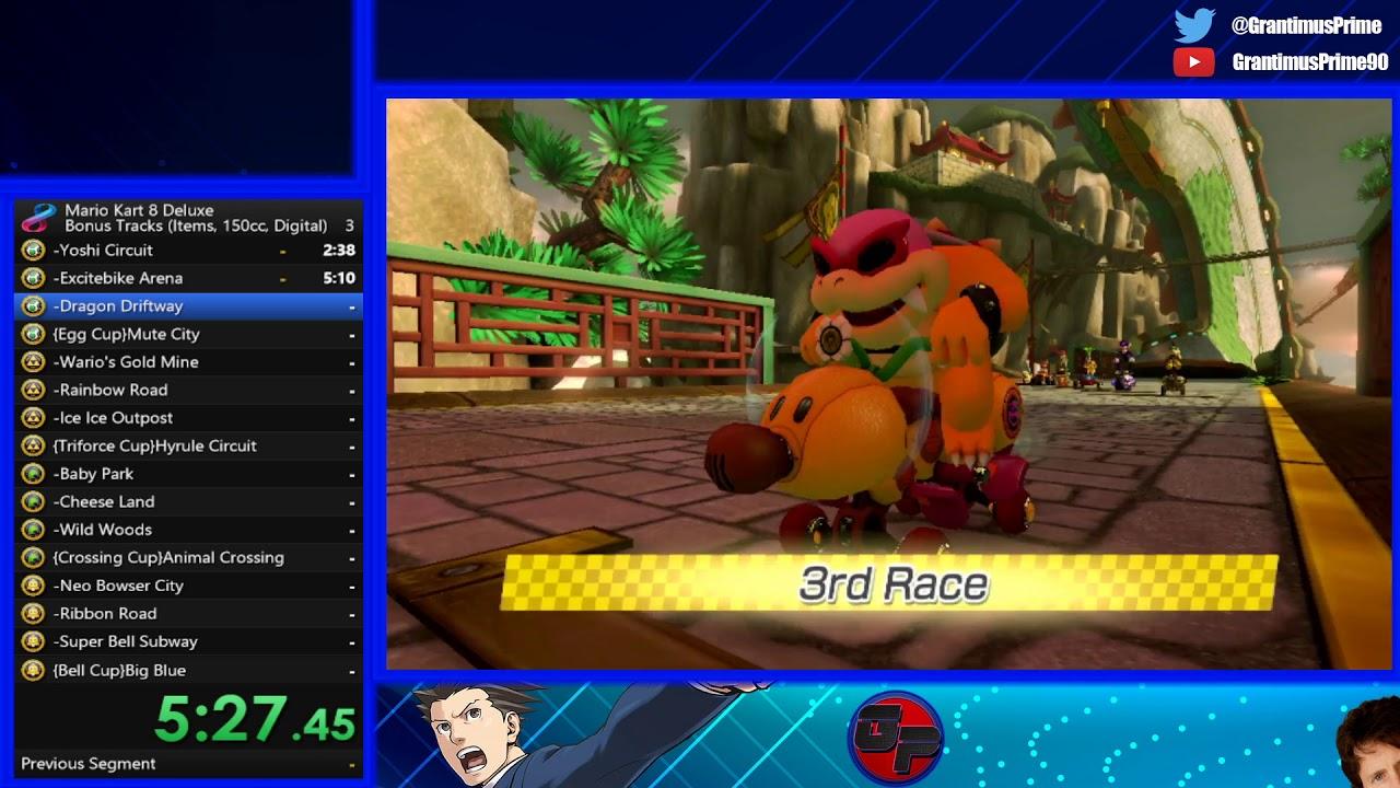 Mario Kart 8 Deluxe Bonus Tracks Speedrun Items 150cc 42 22 40