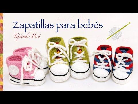 Zapatillas o sneakers para bebés tejidas a crochet... 2 tallas ...