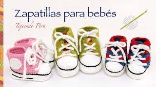 Repeat youtube video Zapatillas o sneakers para bebés tejidas a crochet... 2 tallas!