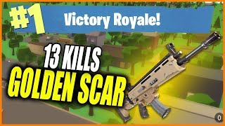 [CODE] 13 Kills with GOLDEN SCAR in ISLAND ROYALE | Roblox Fortnite | iBeMaine