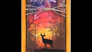 Penny Black Stamped Branches and Deer with Watercolor