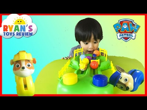 Ryan Plays Paw Patrol Pup Racers Game and Opens Egg Surprise Toys!