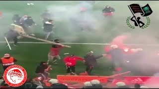 Olympiakos Vs AEK / Hooligans fight / 04.02.2018