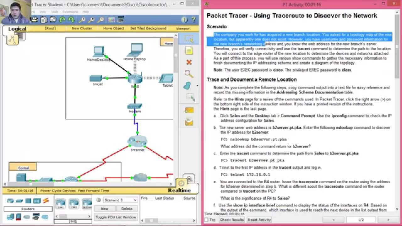 1 1 1 8 - 4 1 1 8 Packet Tracer - Using Traceroute to Discover the Network