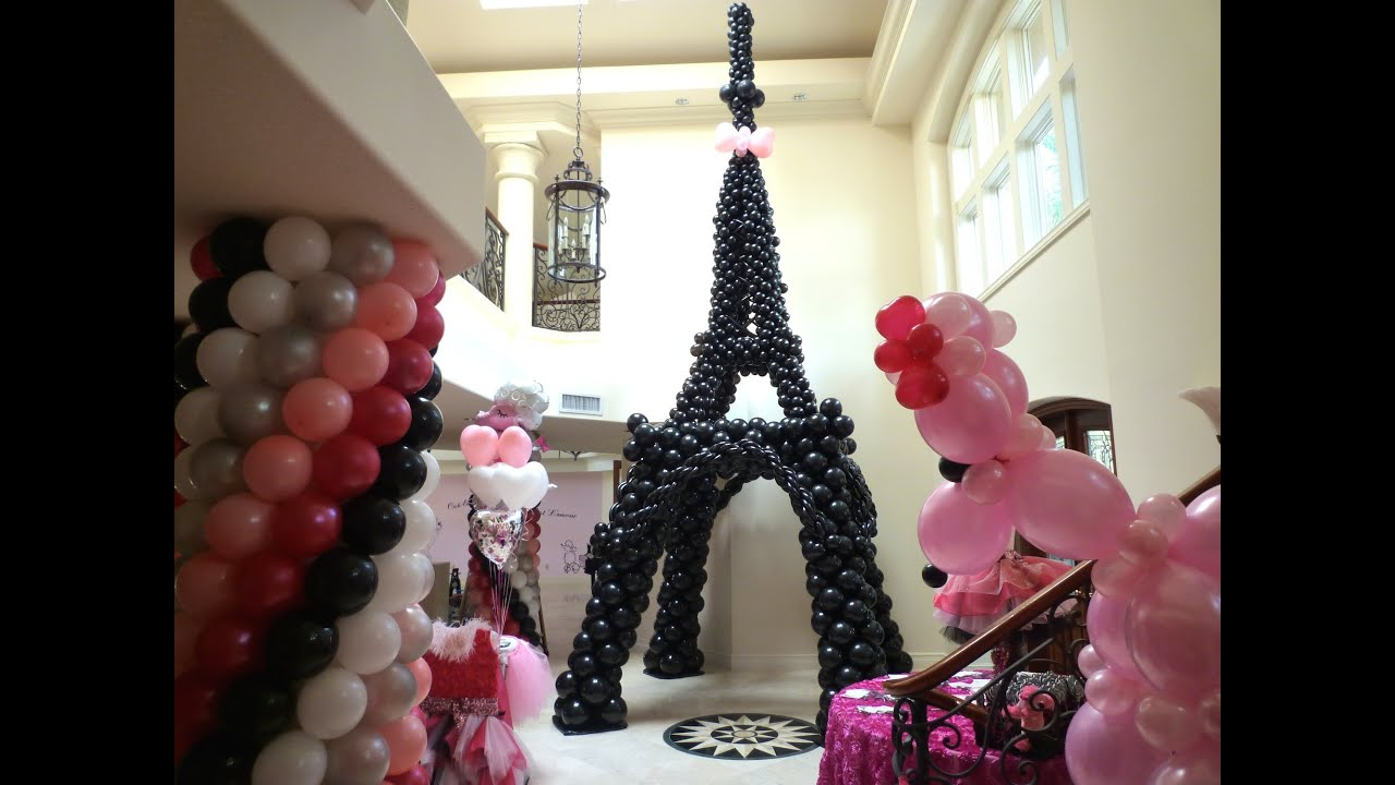 Pink poodle in paris theme birthday decoration dreamark for Deco in paris