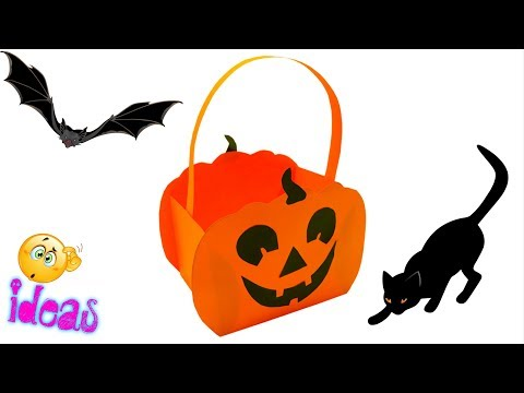 DIY Paper Pumpkin Basket Craft Ideas | Halloween Paper Basket Pumpkin Craft Ideas