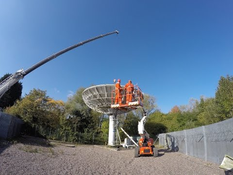 Skybrokers de-installing a Viasat 11m earth station antenna in Redditch, UK