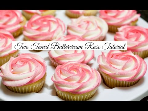 Two Tone Buttercream Cupcake Rose Tutorial Youtube
