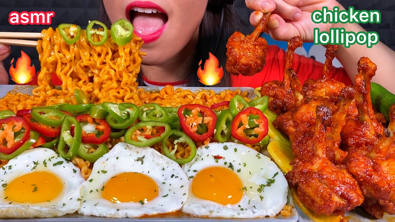 ASMR EATING FIRE NOODLES SPICY CHICKEN LOLLIPOP EGGS CHILLI PICKLED RADISH 먹방 Mukbang Sounds