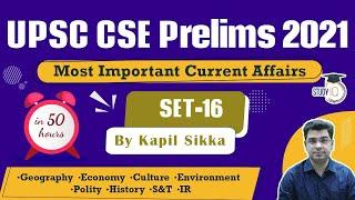 UPSC CSE Prelims 2021 - Most Important Current Affairs for UPSC Prelims - Set 16 by Kapil Sikka