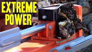 EXTREME POWER!! Splitting Wood? You NEED this! ( Yardmax 35-Ton Full Beam Log Splitter )