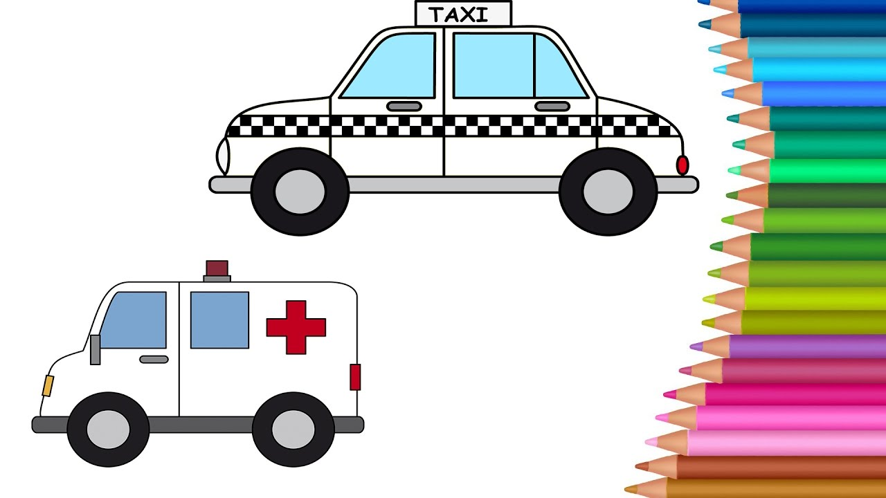 Taxi Cartoon Ambulance Coloring Pages Colours For Kids