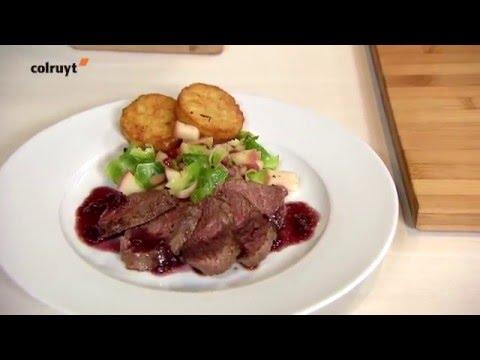 recette steak de biche l chalote et po l e de pommes aux choux de bruxelles colruyt youtube. Black Bedroom Furniture Sets. Home Design Ideas