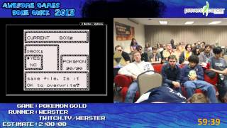 Pokemon Gold Save Corruption Speedrun - Live at AGDQ 2013 (With Yellow Speed Run Afterparty)