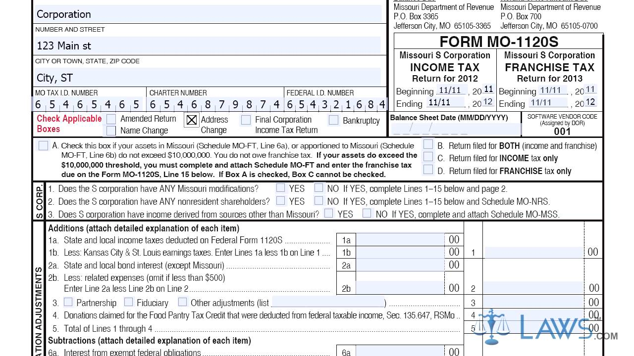 Form MO 1120S Missouri S Corporation Income Franchise Tax Return ...