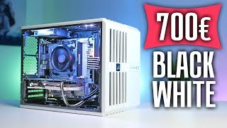 700 Euro Gaming PC in Schwarz Weiß Design