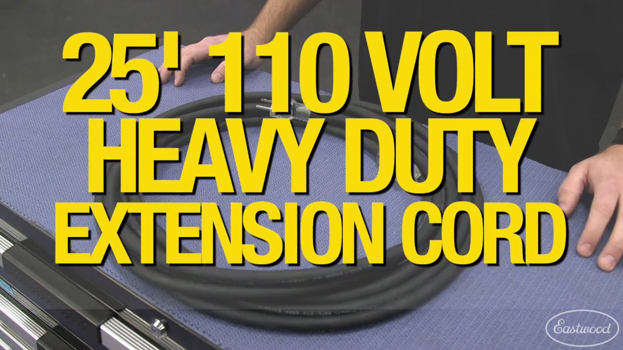 Eastwood 25FT Heavy Duty 110V Extension Cord Copper Construction Rubber Jacket