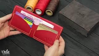 Мужской кожаный бумажник ручной работы VOILE mw2-kred-org. Купить недорого. обзор.