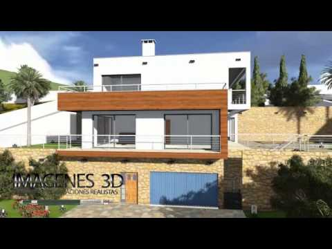 Casa moderna en pendiente modelo 015 youtube for Modelos de frentes de casas