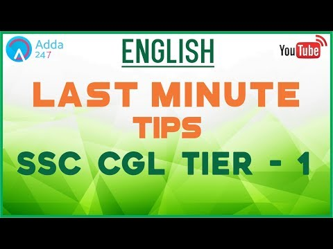 Last Minute Tips For English In SSC CGL Tier - 1 | Online SSC CGL Coaching