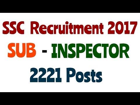 SSC Recruitment for SUB - INSPECTOR  Post ,SSC 2017.