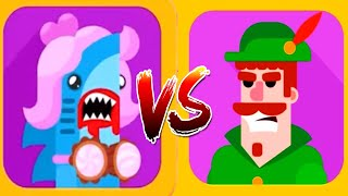 Bowmasters - Gameplay Walkthrough 24 Epic Wins - New Characters PRINCESS SHARK Vs ROBIN