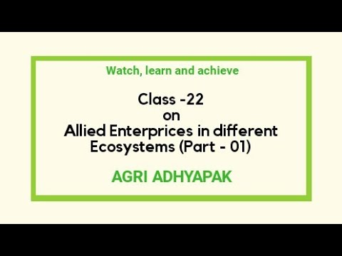 Class - 22 | Part  - 1 | Allied enterprises in Different Ecosystems  | Farming System