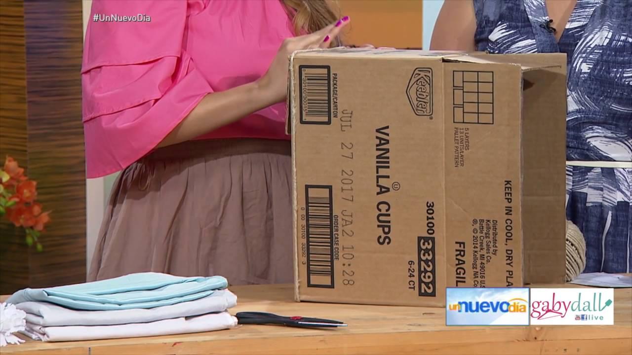 Diy cestos con cajas de carton youtube for Cajas decorativas para almacenar
