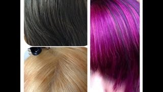 Black to bleach to purple / pink hair tutorial