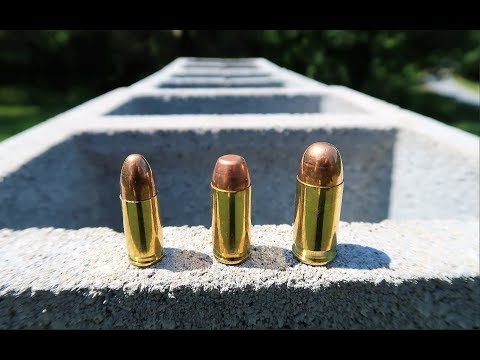 9mm vs .40 Cal vs .45 ACP - Cinder Block Test