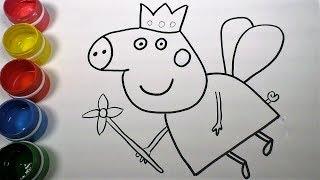 Как нарисовать Свинку Пеппу, Учимся рисовать, Раскраска для детей, Уроки Рисования для детей