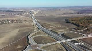 Фото Крым трасса Таврида 5 этап самая большая развязка под Симферополем возле с. Трудовое с высоты полета