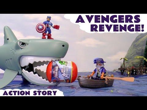 Spiderman and Avengers Surprise Captain America Hulk Iron Man Toys Playmobil Pirate Ship Shark Seas
