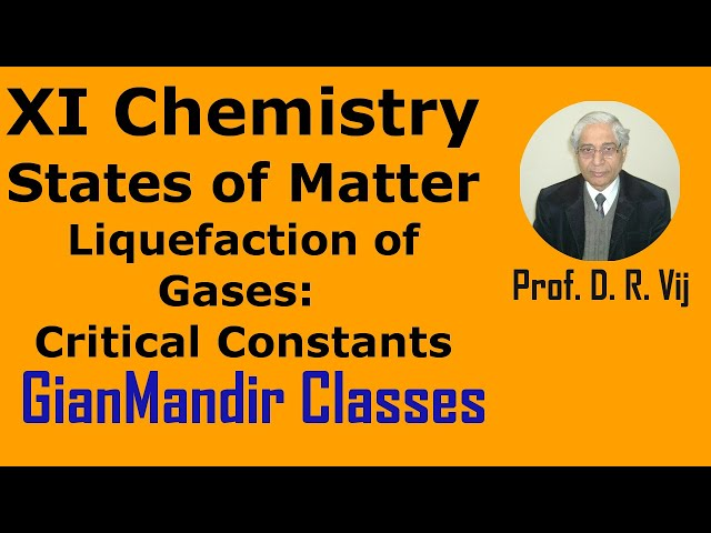 XI Chemistry | State of Matter | Liquefaction of Gases | Critical Constants by Ruchi Ma'am