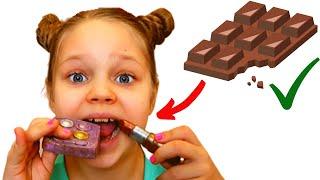 Алиса играет в шоколад или настоящее на канале Лисенок Алисенок