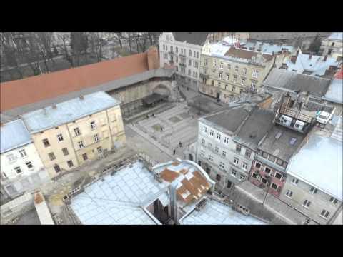 Lviv center drone view