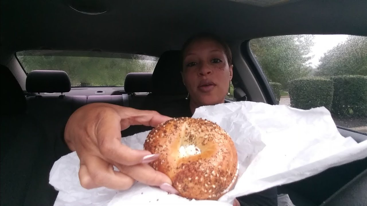 Dunkin Donuts Everything Bagel With Cream Cheese Mukbang Youtube