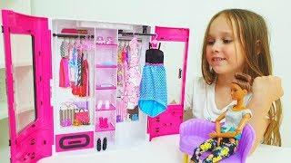 NEW Barbie doll wardrobe closet Barbie and Rapunzel dress up Шкаф для Барби Guarda-roupa de boneca