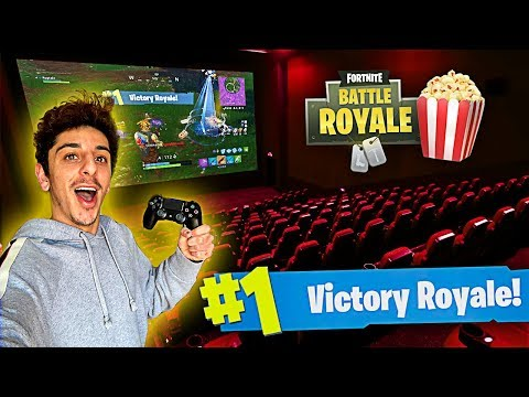 I Won a Game of FORTNITE in a MOVIE THEATER!! (Craziest Experience EVER)