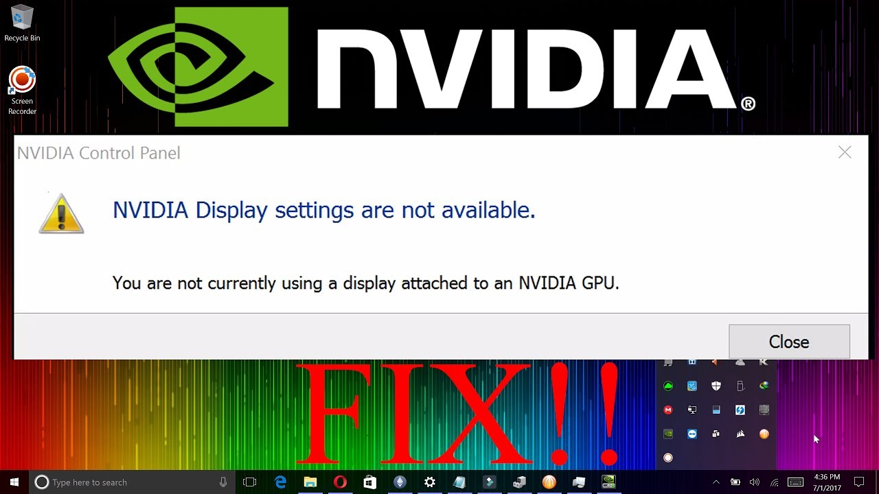 NVIDIA display settings are not available: how to fix the problem 54