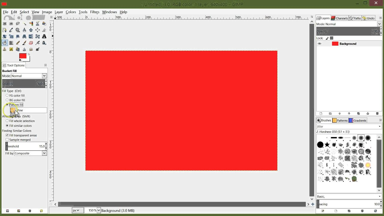 how to change paint in gimp